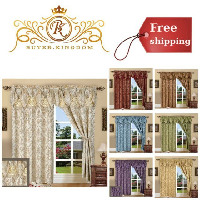 """Elengant Window Curtain Jacquard With Attached Valance 84"""" Long Set Of 2  Panels Inside Elegant Comfort Luxury Penelopie Jacquard Window Curtain Panel Pairs (View 24 of 50)"""