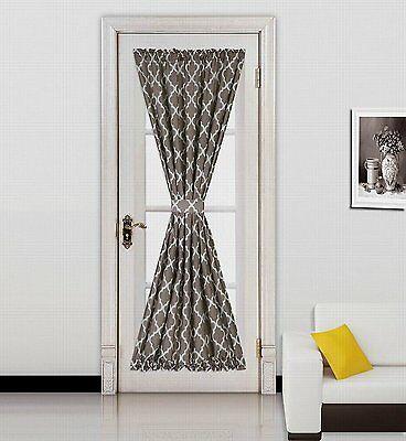 Ella 1Pc Geometric Blackout French Door Window Panel Brown Regarding Ella Window Curtain Panels (View 14 of 50)