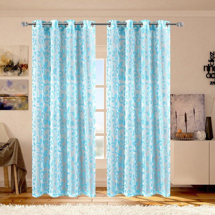 Ella Geometric Sheer Grommet Single Curtain Panel Inside Ella Window Curtain Panels (View 15 of 50)