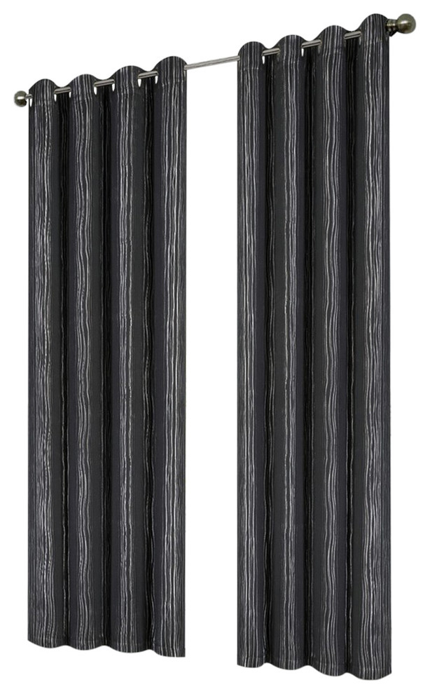 """Ella Printed 54""""x84"""" Grommet Blackout Curtain, Black/silver, Black/silver Pertaining To Ella Window Curtain Panels (View 19 of 50)"""