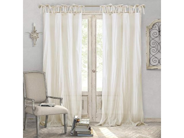 "Elrene Home Fashions Crushed Semi Sheer Adjustable Tie Top Single Panel  Window Curtain Drape, 52"" X 84"" (1), Ivory – Newegg Within Elrene Jolie Tie Top Curtain Panels (#8 of 35)"