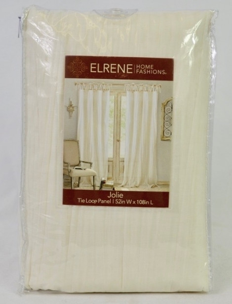 "Elrene Home Fashions Jolie 108"" L, 1 Tie Top Loop Curtain Intended For Elrene Jolie Tie Top Curtain Panels (#10 of 35)"
