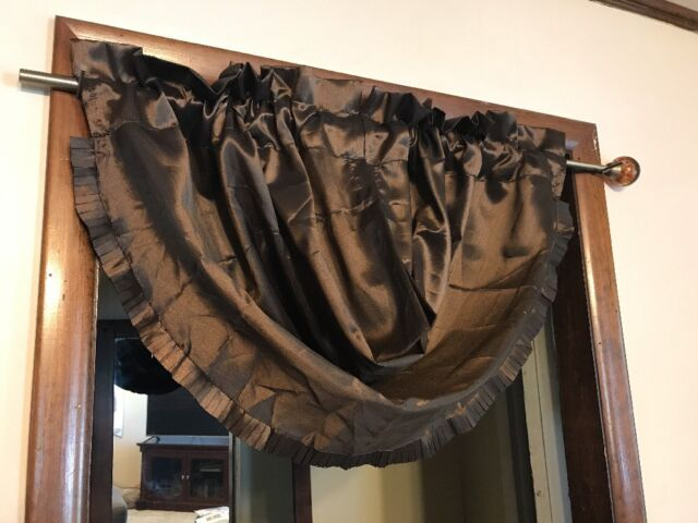 Elrene Home Fashions Versailles Rod Pocket Waterfall Valance 52W36L  Chocolate In Elrene Versailles Pleated Blackout Curtain Panels (View 11 of 38)