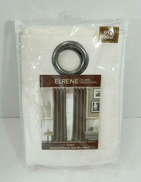 "Elrene Home Fashions White Essex Textured Linen Grommet Curtain Panel Nwt  95"" A2 With Oakdale Textured Linen Sheer Grommet Top Curtain Panel Pairs (#3 of 41)"
