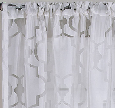 "*elrene Montego Sheer Rod Pocket Curtain Window Panel 52""w X 84""l White New  26865652758 