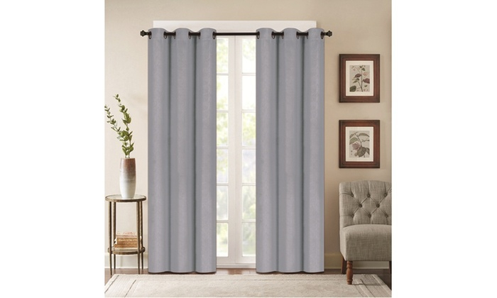 """Embossed Foam Back Blackout 76""""x84"""" Grommet Window Panel Intended For Silvertone Grommet Thermal Insulated Blackout Curtain Panel Pairs (#16 of 35)"""