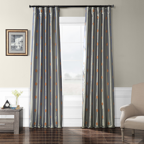 Embroidered Faux Silk Rod Pocket Trophy Silver Sea 50 X 84 Inch Curtain Single Panel In Off White Vintage Faux Textured Silk Curtains (View 41 of 50)
