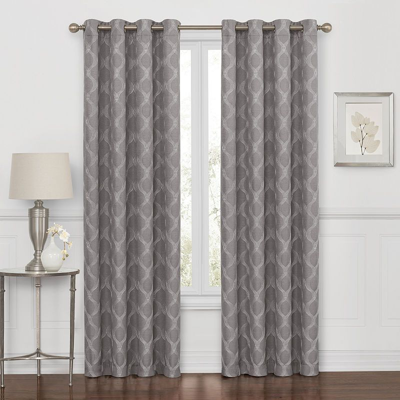 Embroidered Geometric 100% Blackout Grommet Top Curtain Inside Kaiden Geometric Room Darkening Window Curtains (View 16 of 39)