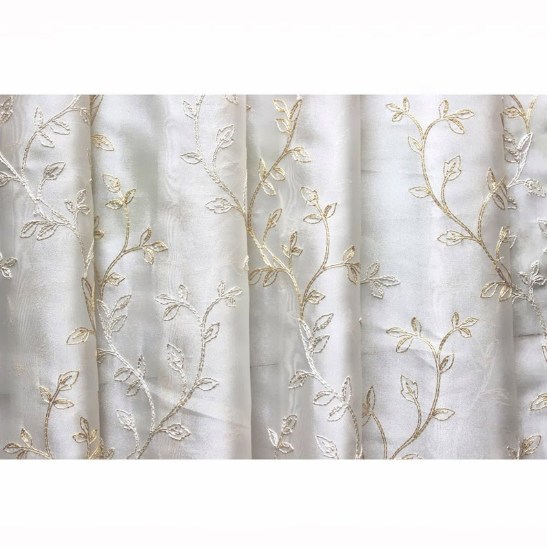 Embroidered Sheer Curtain Fabric | Flisol Home Intended For Wavy Leaves Embroidered Sheer Extra Wide Grommet Curtain Panels (#15 of 50)