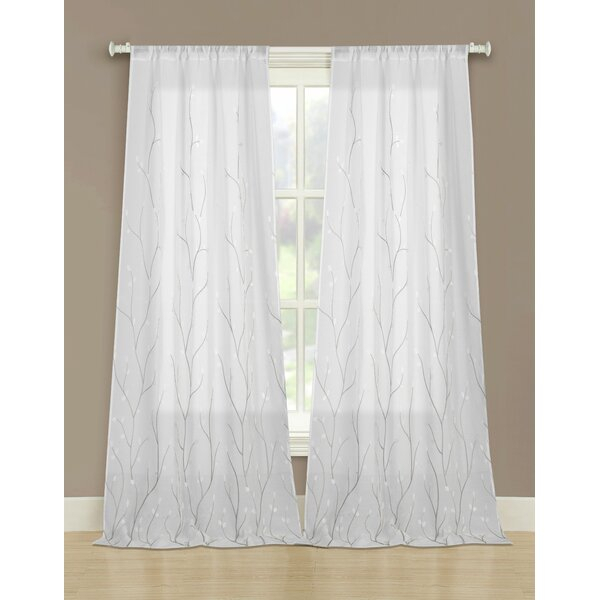 Embroidered Sheer Curtains | Wayfair Inside Wavy Leaves Embroidered Sheer Extra Wide Grommet Curtain Panels (#18 of 50)