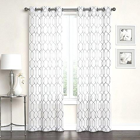 Embroidered Sheer Grommet Top Window Curtain Panel Pair Bed With Delano Indoor/outdoor Grommet Top Curtain Panel Pairs (View 23 of 45)