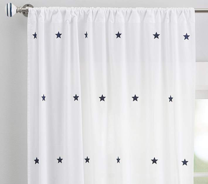 "Embroidered Stars Sheer Panel, 44 X 84"", Navy 