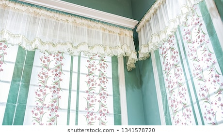 Embroidery Curtains Images, Stock Photos & Vectors Regarding Lambrequin Boho Paisley Cotton Curtain Panels (View 19 of 41)