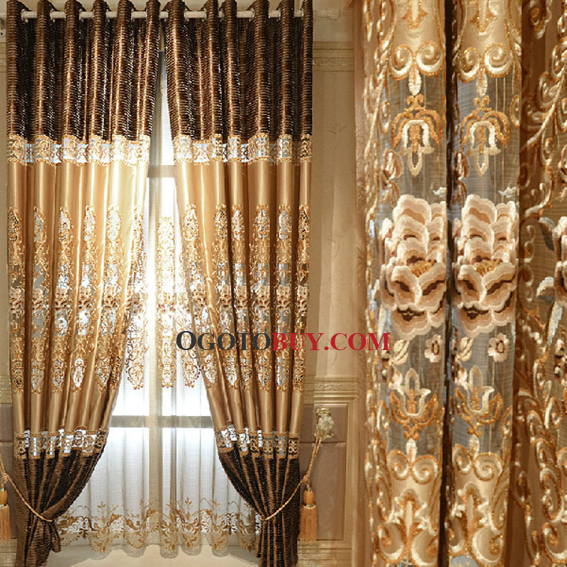 Embroidery Floral Pattern Gold Faux Silk Fabric Living Room In Ofloral Embroidered Faux Silk Window Curtain Panels (View 10 of 50)