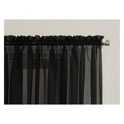 """Emily Sheer Voile Rod Pocket Curtain Panel Black 59""""x108 In Emily Sheer Voile Single Curtain Panels (View 5 of 41)"""