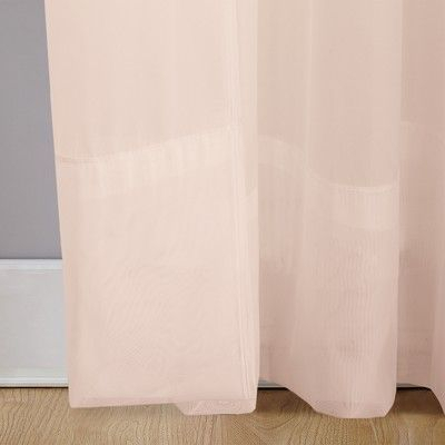 """Emily Sheer Voile Rod Pocket Curtain Panel Blush 59""""x63 With Emily Sheer Voile Single Curtain Panels (View 6 of 41)"""