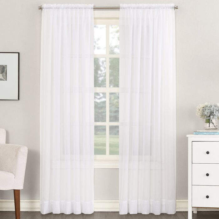 Emily Solid Color Sheer Rod Pocket Window Single Curtain Panel For Emily Sheer Voile Solid Single Patio Door Curtain Panels (View 11 of 50)