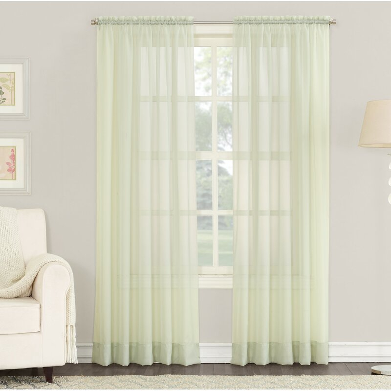 Emily Solid Color Sheer Rod Pocket Window Single Curtain Panel Inside Emily Sheer Voile Solid Single Patio Door Curtain Panels (View 15 of 50)