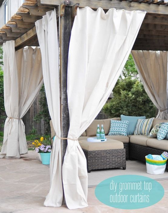 Endearing Outdoor Canvas Curtains And Best 25 Pergola With Matine Indoor/outdoor Curtain Panels (#17 of 50)