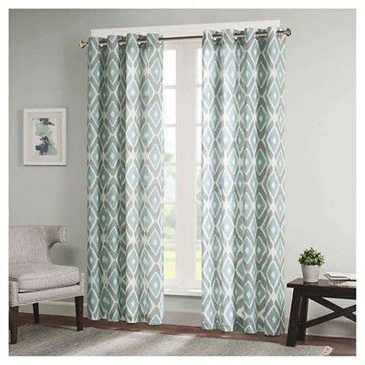 Ender Diamond Printed Curtain Panel Aqua (Blue) (50X84 Throughout Grey Printed Curtain Panels (View 13 of 48)