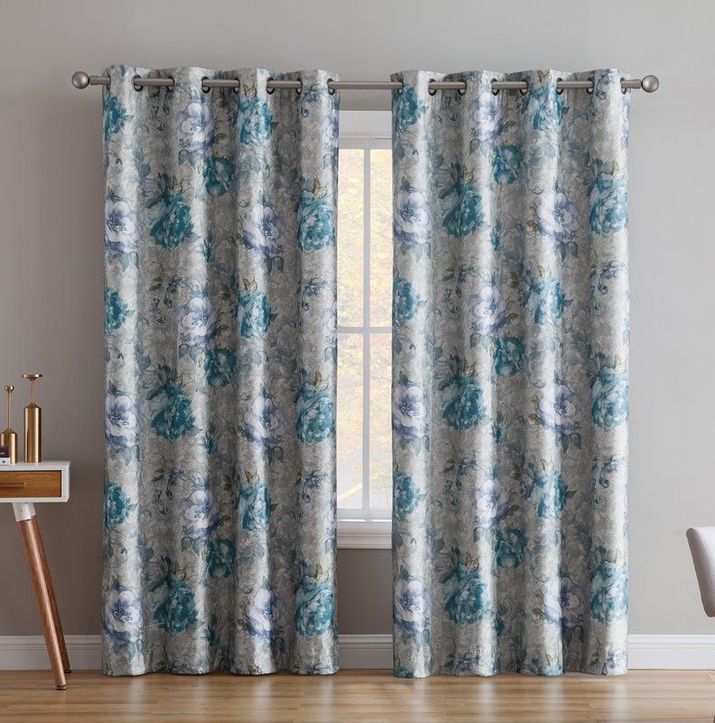 Enzo Floral/flower Max Blackout Thermal Grommet Curtain Pertaining To Embossed Thermal Weaved Blackout Grommet Drapery Curtains (View 19 of 42)