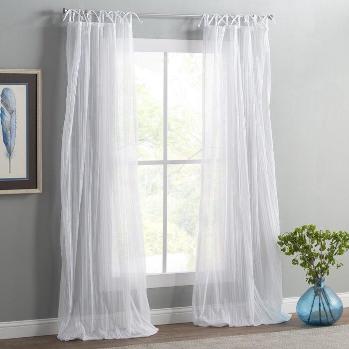 Erasma Solid Sheer Tab Top Single Curtain Panel Regarding Tab Top Sheer Single Curtain Panels (View 5 of 50)