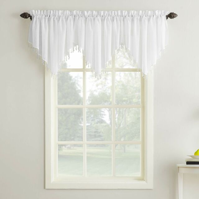 Erica Crushed Sheer Voile Ascot Beaded Curtain Valance 51 X 24 White Inside Erica Crushed Sheer Voile Grommet Curtain Panels (#22 of 50)