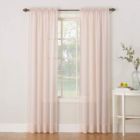 Erica Crushed Sheer Voile Rod Pocket Curtain Panel Blush 51 Pertaining To Erica Crushed Sheer Voile Grommet Curtain Panels (#23 of 50)
