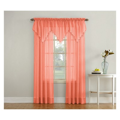 Erica Crushed Sheer Voile Rod Pocket Curtain Panel Coral For Erica Sheer Crushed Voile Single Curtain Panels (#24 of 41)