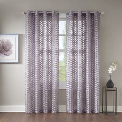 "Erin 84"" Sheer Grommet Top Window Curtain Panel In Lavender With Regard To Archaeo Jigsaw Embroidery Linen Blend Curtain Panels (#10 of 25)"