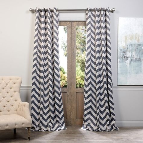 Exclusive Fabrics Fez Grey/tan Grommet Top Blackout Curtain Within Essentials Almaden Fretwork Printed Grommet Top Curtain Panel Pairs (#6 of 38)