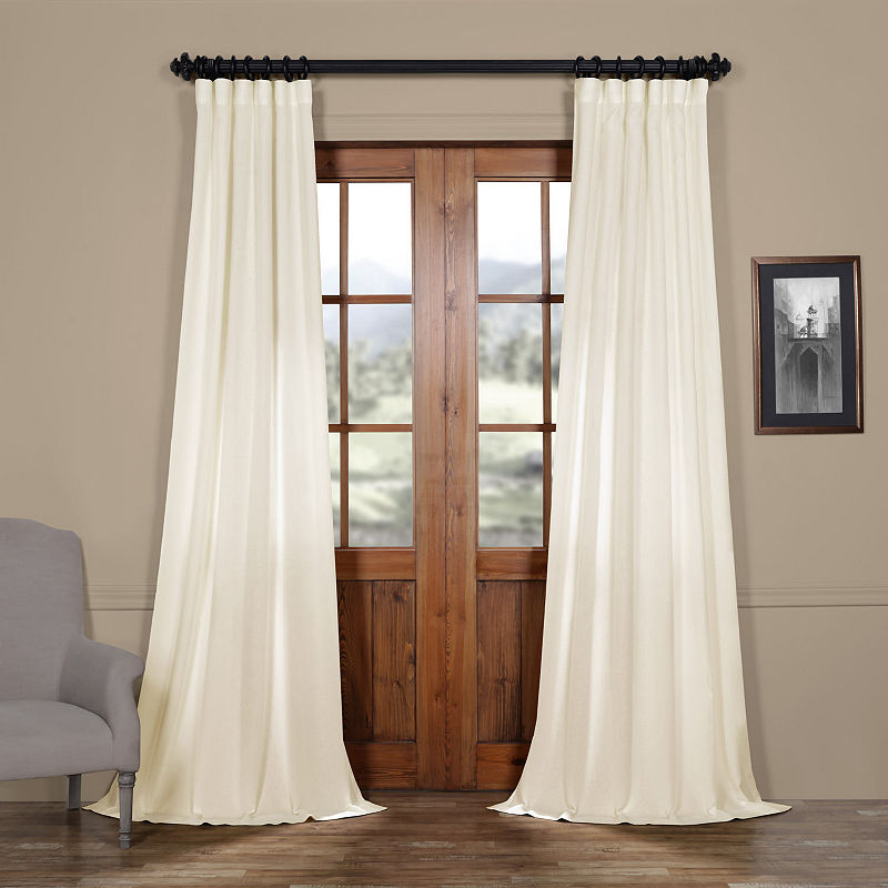 Exclusive Fabrics & Furnishing Faux Linen Sheer Rod Pocket With Regard To Montpellier Striped Linen Sheer Curtains (#19 of 50)