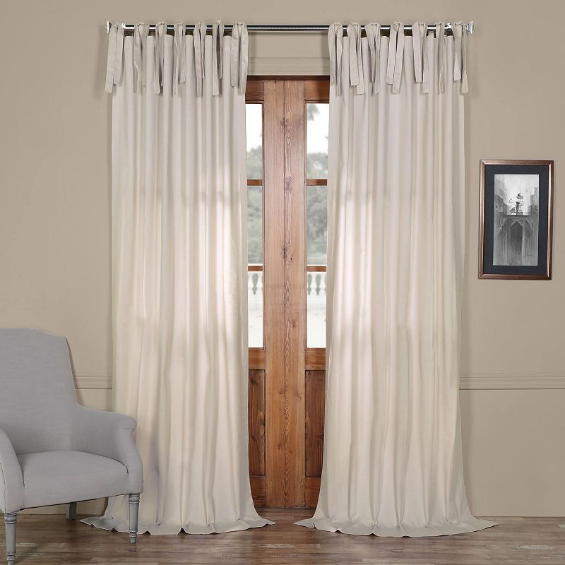 Exclusive Fabrics & Furnishing Solid Cotton Tie Top Curtain Inside Solid Cotton Curtain Panels (#21 of 47)