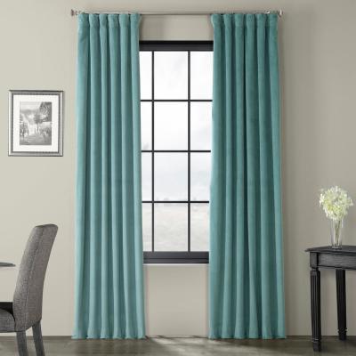 Exclusive Fabrics & Furnishings Deep Sea Teal Blue Heritage For Heritage Plush Velvet Single Curtain Panels (View 15 of 50)