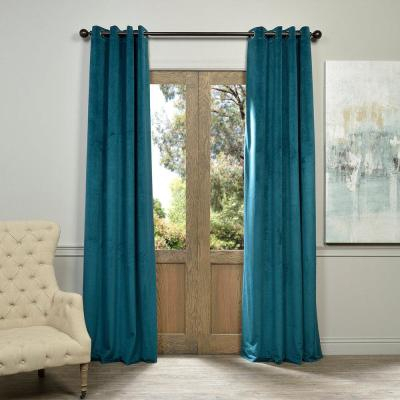 Exclusive Fabrics & Furnishings Deep Sea Teal Blue Heritage Intended For Heritage Plush Velvet Single Curtain Panels (View 16 of 50)