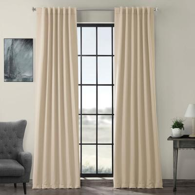 Exclusive Fabrics & Furnishings Fresh Popcorn Ivory Solid Throughout Solid Cotton True Blackout Curtain Panels (#22 of 50)