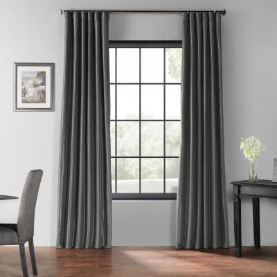 Exclusive Fabrics & Furnishings Silver Grommet Blackout Intended For Silver Vintage Faux Textured Silk Curtain Panels (View 11 of 50)