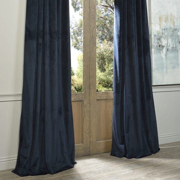 Exclusive Fabrics Signature Midnight Blue Velvet Blackout For Signature Ivory Velvet Blackout Single Curtain Panels (View 13 of 50)