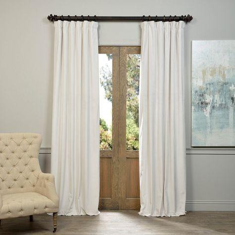 Exclusive Fabrics Signature Off White Velvet Blackout Within Signature Ivory Velvet Blackout Single Curtain Panels (View 26 of 50)