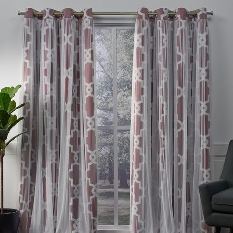 Exclusive Home 2 Pack Alegra Layered Geometric Blackout And For Bethany Sheer Overlay Blackout Window Curtains (View 16 of 50)