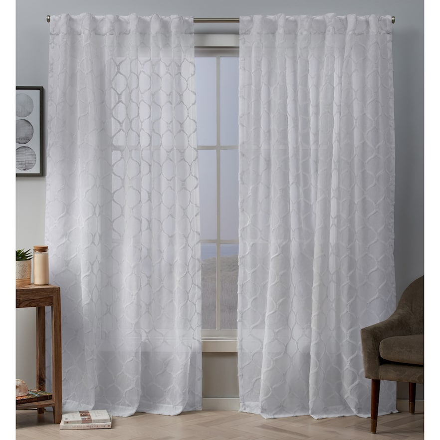Exclusive Home 2 Pack Bradford Sheer Woven Ogee Embellished With Bethany Sheer Overlay Blackout Window Curtains (View 17 of 50)