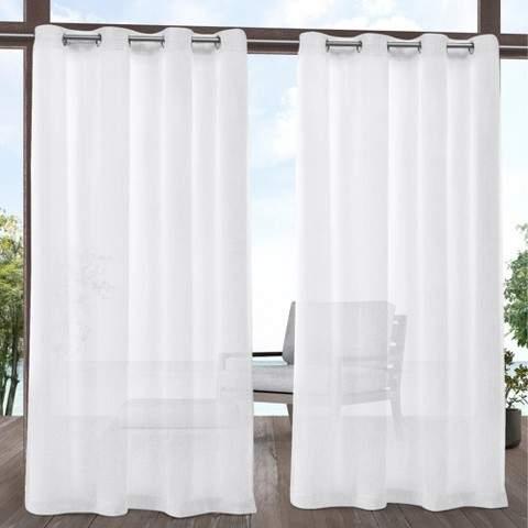 """Exclusive Home 54""""x96"""" Tao Indoor/outdoor Sheer Linen Grommet Top Window Curtain Panel Pair Regarding Thermal Textured Linen Grommet Top Curtain Panel Pairs (View 14 of 42)"""