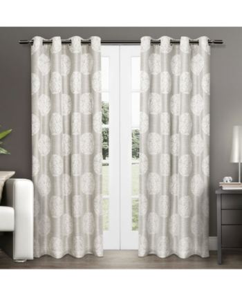 Exclusive Home Akola Medallion Linen Jacquard Grommet Top With Regard To The Curated Nomad Duane Jacquard Grommet Top Curtain Panel Pairs (#11 of 50)