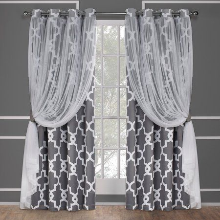 Exclusive Home Alegra Layered Gated Blackout And Sheer In Bethany Sheer Overlay Blackout Window Curtains (View 18 of 50)