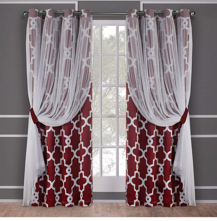 Exclusive Home Alegra Layered Geometric Blackout And Sheer Grommet Top  Curtain Panel Pair Regarding Wilshire Burnout Grommet Top Curtain Panel Pairs (#16 of 45)