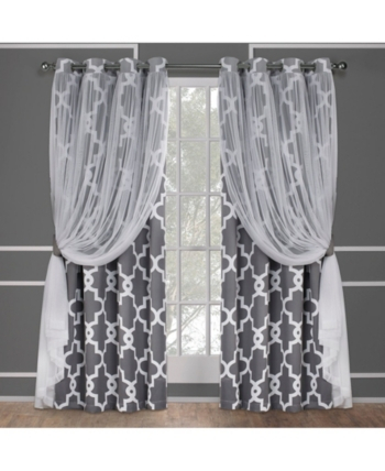 Exclusive Home Alegra Layered Geometric Blackout And Sheer With Penny Sheer Grommet Top Curtain Panel Pairs (#16 of 49)