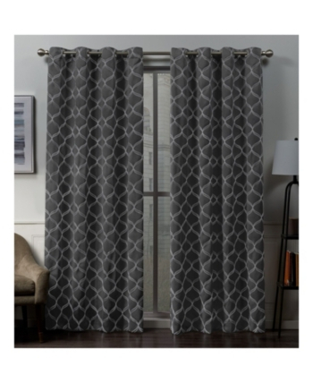 Exclusive Home Amelia Embroidered Woven Blackout Grommet Top Pertaining To Easton Thermal Woven Blackout Grommet Top Curtain Panel Pairs (#18 of 44)