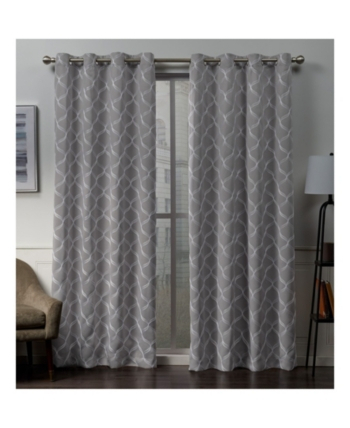 Exclusive Home Amelia Embroidered Woven Blackout Grommet Top With Regard To Easton Thermal Woven Blackout Grommet Top Curtain Panel Pairs (#19 of 44)