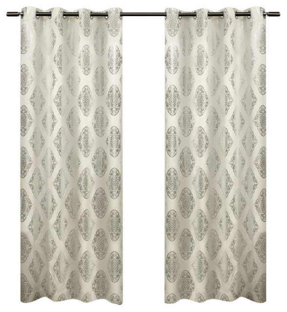Exclusive Home Augustus Grommet Top 84 Inch Curtain Panel, Set Of 2,  Off White Regarding Easton Thermal Woven Blackout Grommet Top Curtain Panel Pairs (#20 of 44)