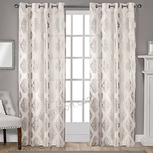 Exclusive Home Augustus Metallic Light Filtering Window Regarding Total Blackout Metallic Print Grommet Top Curtain Panels (View 17 of 50)